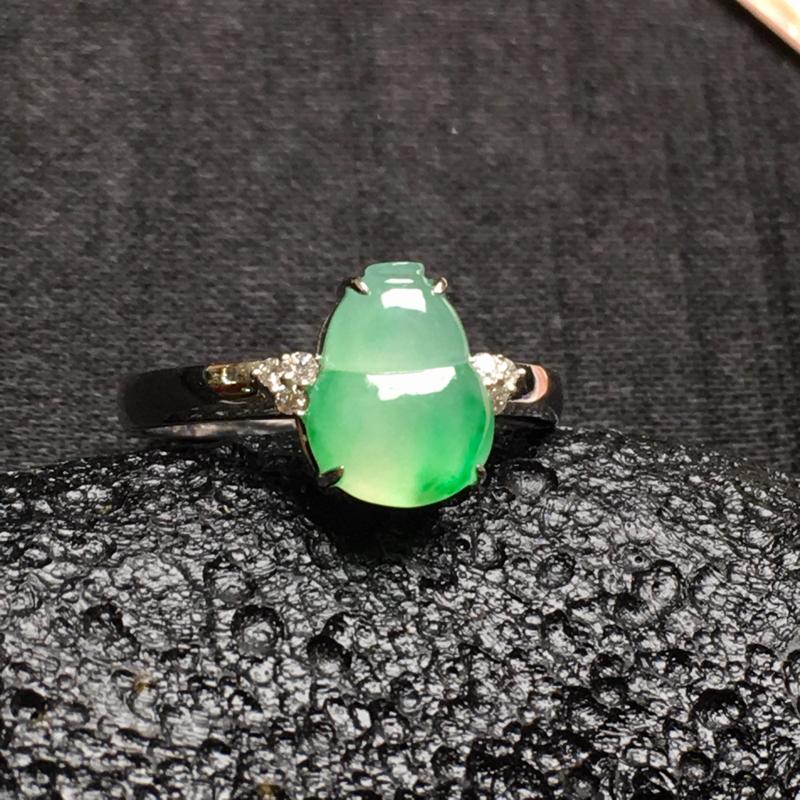 飘绿花葫芦戒指💍,18k金伴钻镶嵌
