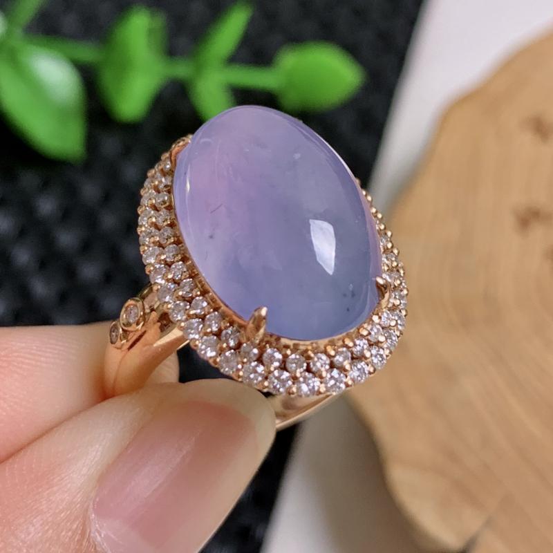天然翡翠A货-紫罗兰18K金镶嵌蛋面戒指,种好,玉质细腻,水头饱满,形体漂亮,水润精致,上手效果佳,