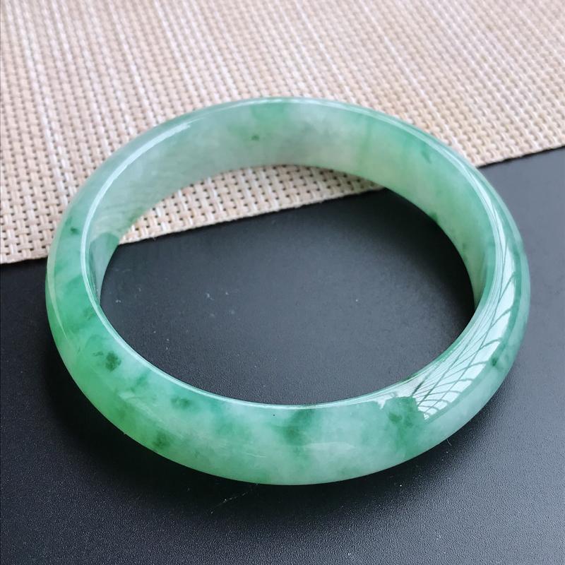 圈口62-63mm天然翡翠A货老坑糯种飘绿正圈手镯,圈口:62.5×14.6×7.8mm,料子细腻,
