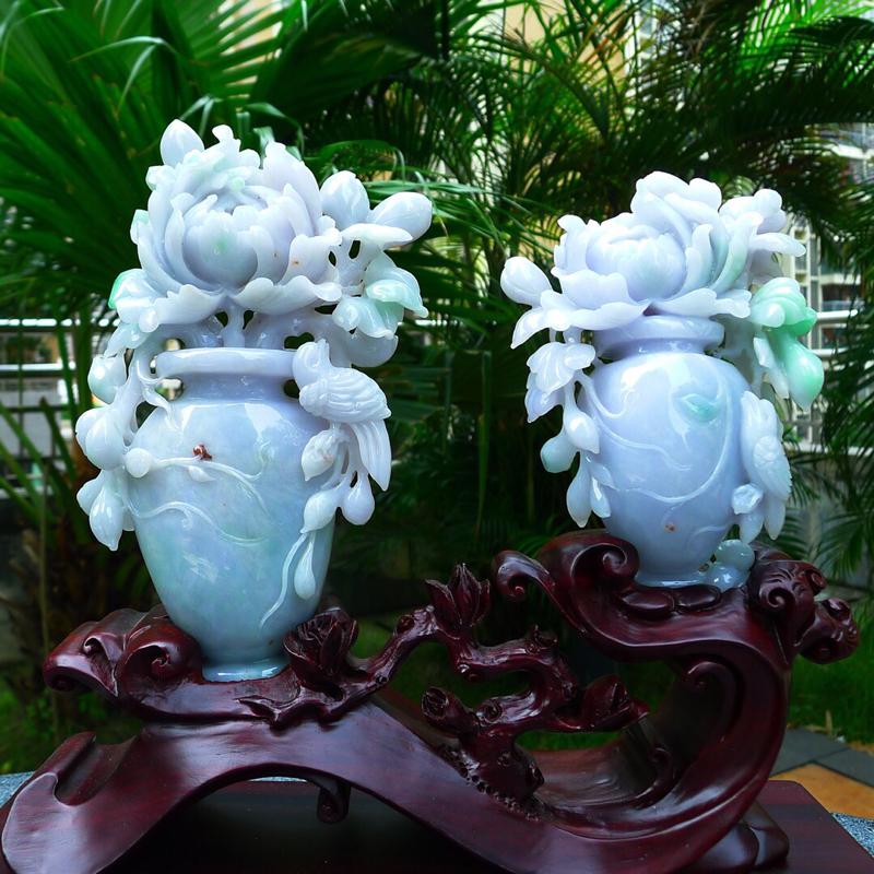 精美花瓶摆件 缅甸天然翡翠A货花瓶花开富贵 平平安安 和和美美 寓意吉祥如意 平安富贵 料子干净清爽