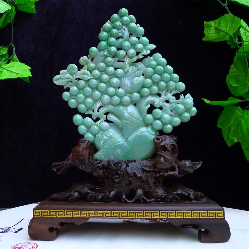 翡翠A货老坑水润精工海棠果豆绿多子多福,硕果累累摆件 裸石尺寸:168/235/20mm ,连座尺