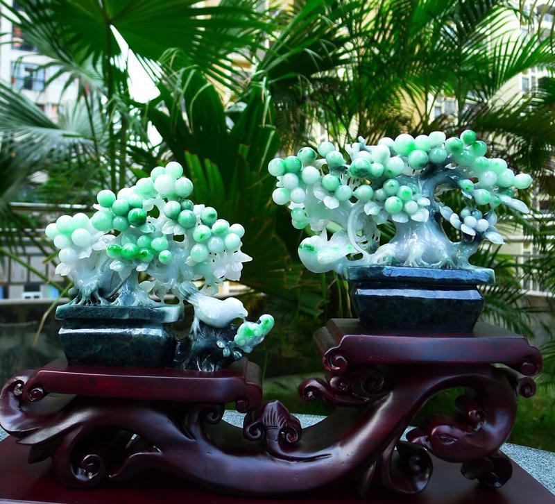 缅甸天然翡翠A货 海棠果盆景摆件 精美水润冰糯种绿色盆景 寓意多子多福 万寿无疆、子孙满堂、硕果累累