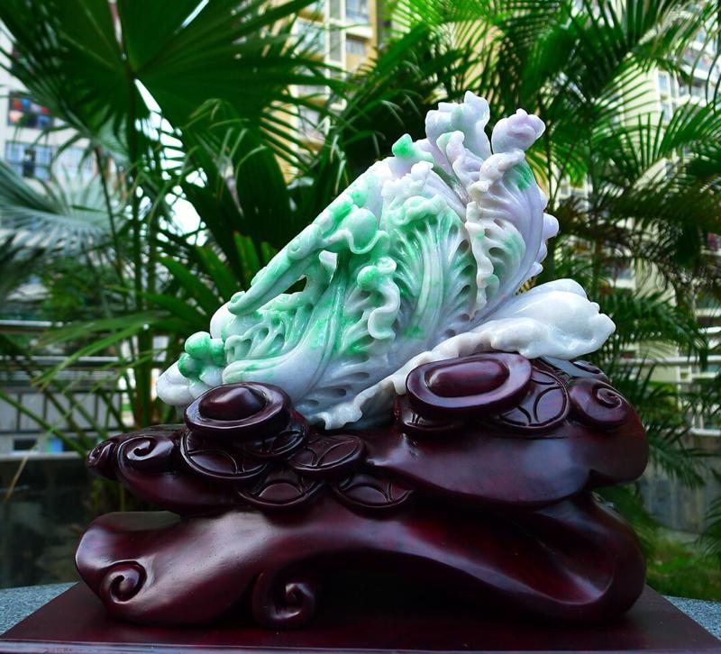 大件白菜摆件 缅甸天然翡翠A货 精美水润 春带彩 阳绿 八方来财 财源广进 步步高升 升官发财 白菜