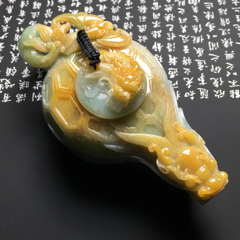 糯种黄翡生意兴隆茶壶摆件