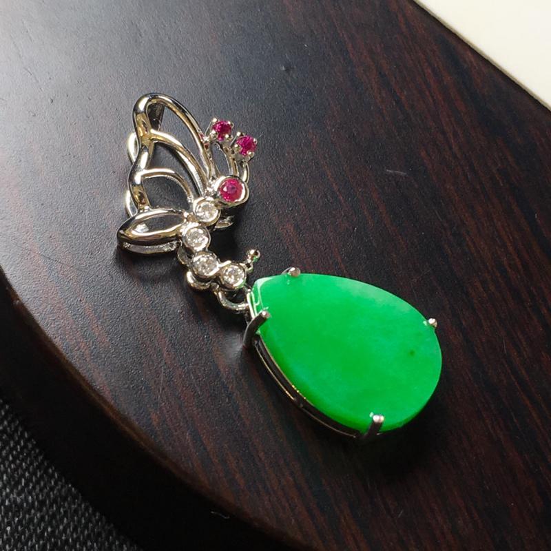 满绿水滴吊坠,18k金伴钻镶嵌,种水一流,佩戴精美,饱满圆润,性价比高