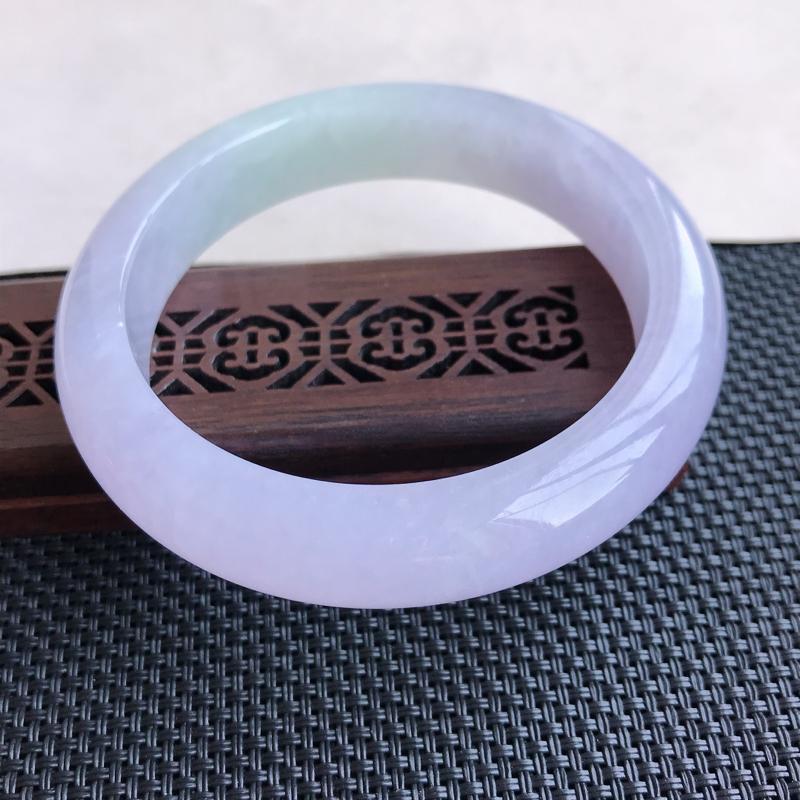 【原价3.3万元】*天然翡翠A货糯化种淡紫正圈手镯,尺寸56-12.4-8.6mm,