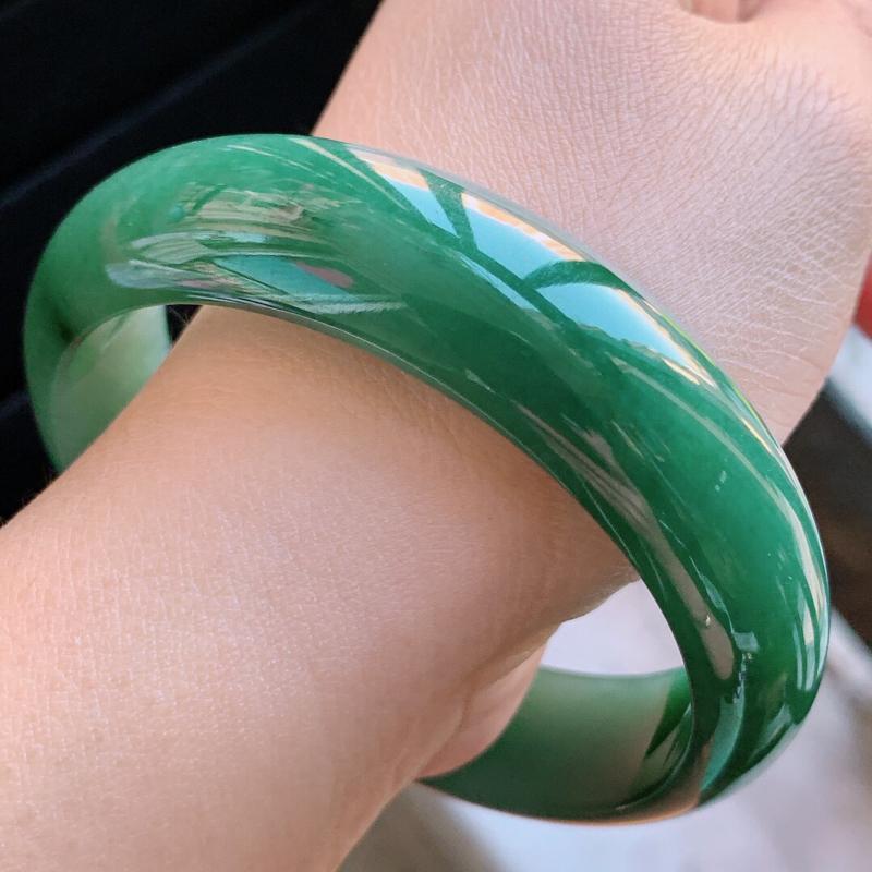 【1108老坑精美满绿正装A货翡翠宽条手镯 尺寸56.8-15.2-7mm###】图7