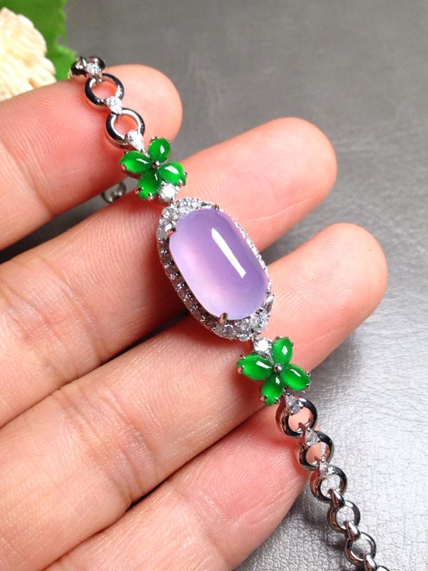高冰起光紫罗兰手链,裸石15*9.5*6.5 整体长度16mm 18k金钻镶嵌,料子饱满圆润厚实,通