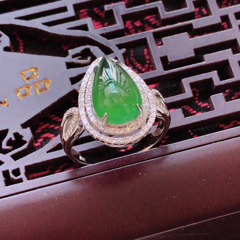 z完美18k金伴钻豪华镶嵌水滴戒指,裸石尺寸:13.3/8.2/4.1mm,总尺寸:17.8/13/