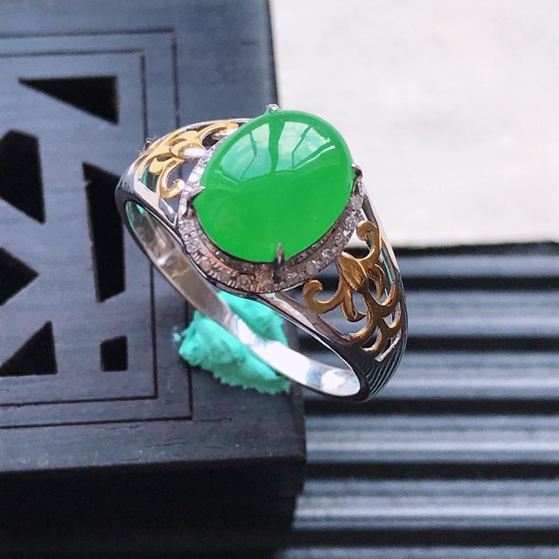 天然翡翠A货18K金镶嵌伴钻细糯种满绿精美蛋面戒指,内径尺寸18.3mm,