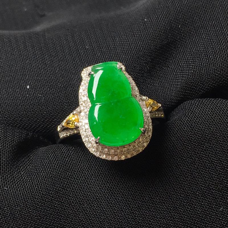满绿葫芦戒指💍,18k金伴钻镶嵌,色阳,种