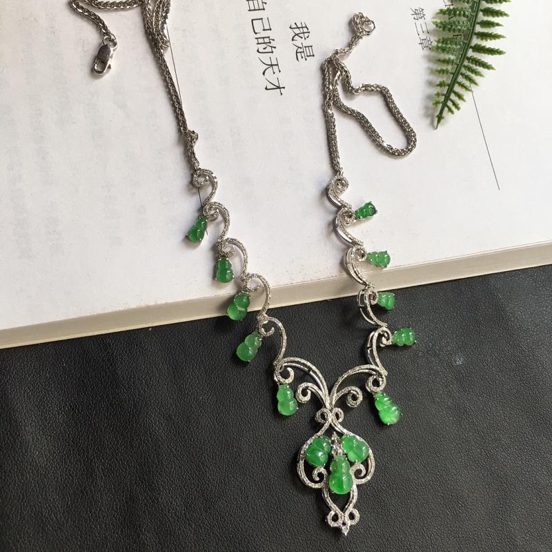 缅甸翡翠18K金伴钻镶嵌满绿葫芦项链,颜色好,玉质细腻,雕工精美,佩戴送礼佳品,包金尺寸: 36.2