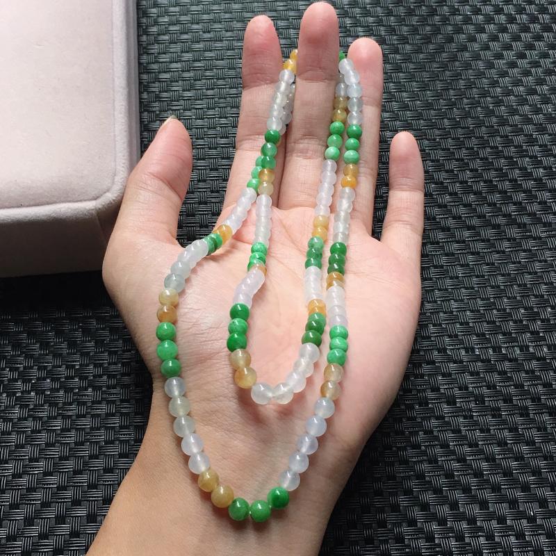 缅甸翡翠多彩圆珠项链,自然光实拍,颜色漂亮,玉质莹润,佩戴佳品,单颗尺寸:4.9mm,162颗,重3