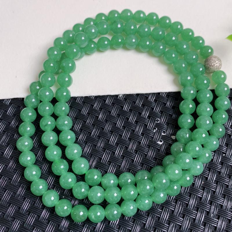 天然翡翠A货_满绿翡翠项链,玉质细腻,圆润饱满,有种有色,佩戴效果更佳