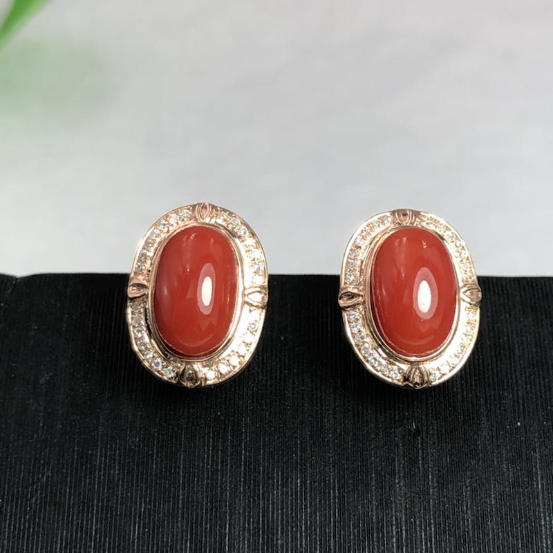 【阿卡大面红珊瑚耳钉】日本阿卡材料,颜色艳红色,裸石尺寸为8.9*5.6mm,18K真金➕钻石镶嵌!