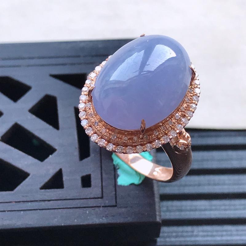 天然翡翠A货18K金镶嵌伴钻细糯种紫罗兰精美蛋面戒指,内径尺寸18.3mm