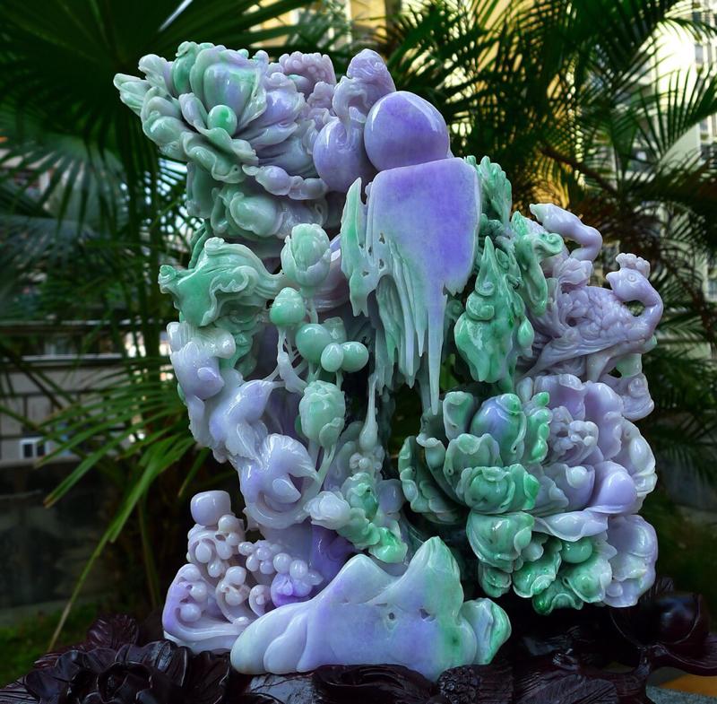 精雕大件精美 花开富贵 缅甸天然翡翠A货  精美水润 春带彩精雕孔雀开屏摆件,花开富贵 百年好合 安