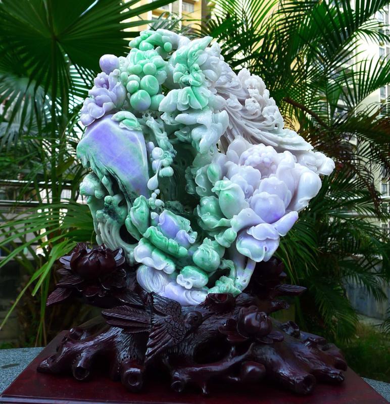 精雕大件精美 花开富贵  缅甸天然翡翠A货  精美水润 春带彩精雕孔雀开屏摆件,花开富贵 百年好合