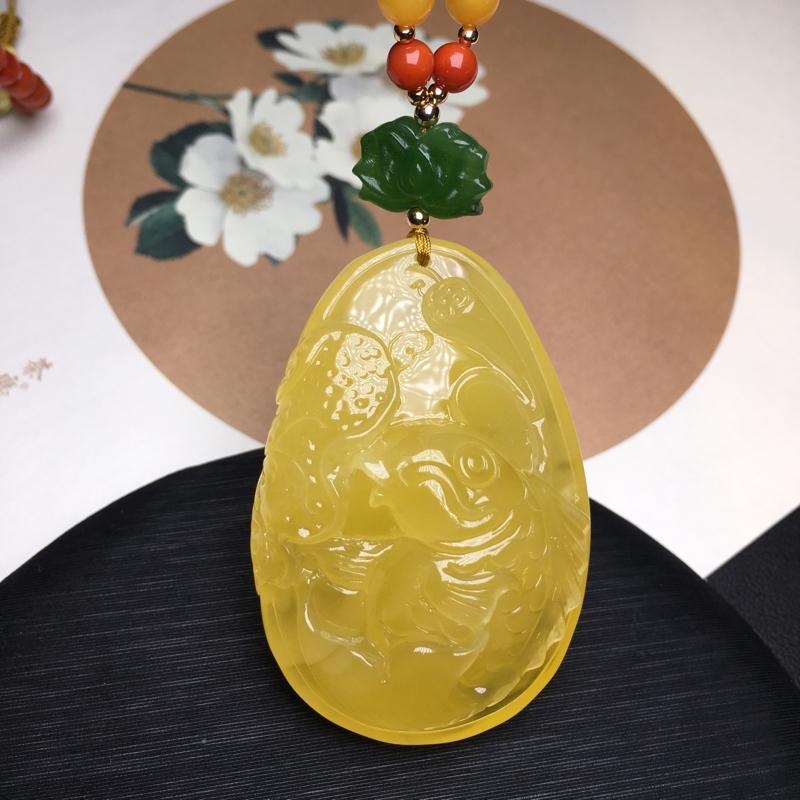 """🍃🌺天然无优化蜜蜡鱼牌""""年年有余""""吊坠,满蜜柠檬黄,精雕细琢,蜡质"""