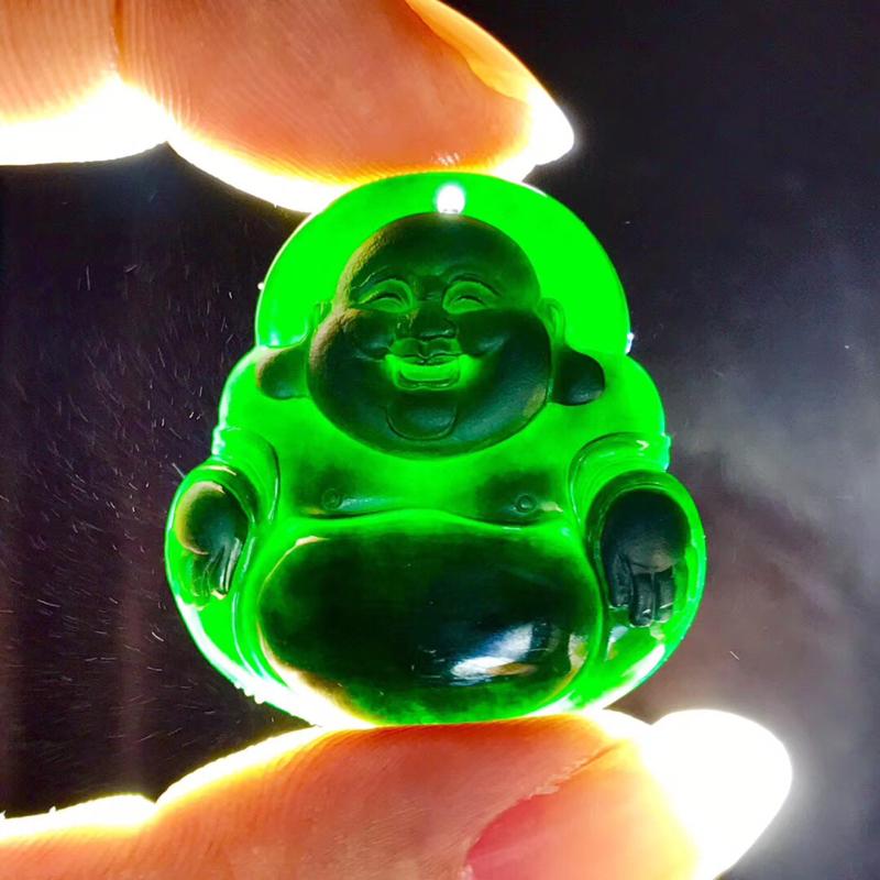 墨翠【佛公】完美无裂纹,细腻干净,黑度极黑,性价比高,雕工精湛,打灯透绿