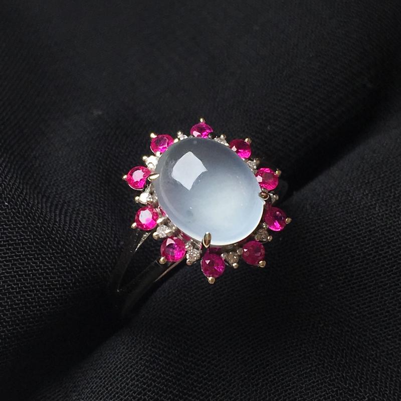高冰蛋面戒指,18k金伴钻镶嵌,种水