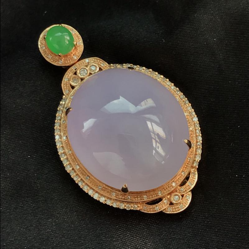 天然翡翠A货,18K金伴钻镶嵌,紫罗兰戒指吊坠套装,高品质,饱满圆润,玉质细腻,款式新颖独特,质量超