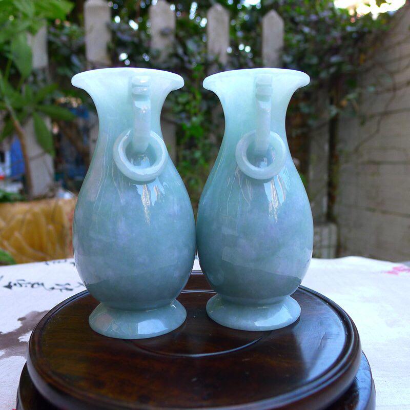 【超值放漏】(富贵平安) 《平平安安》缕空糯化种翡翠小对瓶,宝贝同出一料子,质地细腻莹润,底子干净;