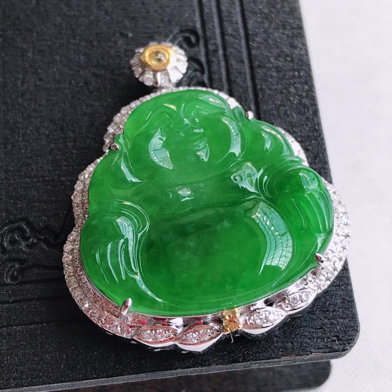 天然翡翠A货18k金伴钻镶嵌阳绿佛公吊坠,含金尺寸:33.3×28.2×9.5mm,裸石尺寸:22.