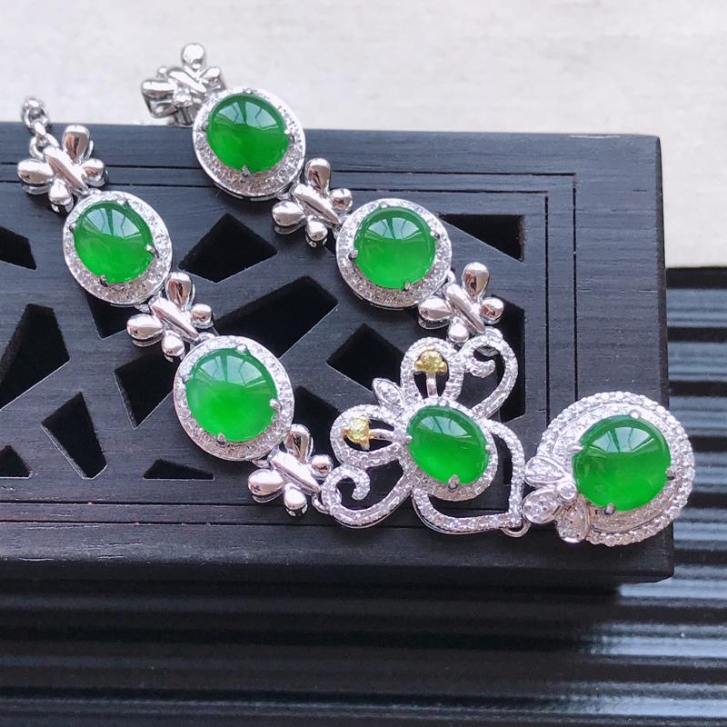 天然翡翠A货18K金镶嵌伴钻糯化种满绿精美蛋面项链,含金尺寸13.3-10.8