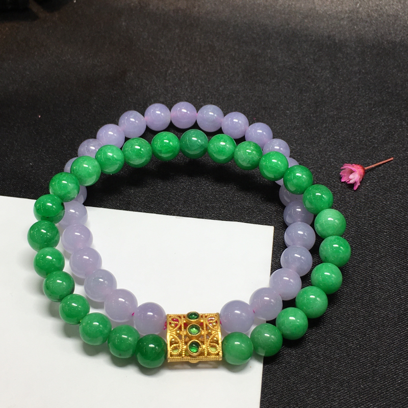 紫加绿手珠,底庄细腻,有微纹可忽略,性价比高,推荐,尺寸6mm,重量24.46g