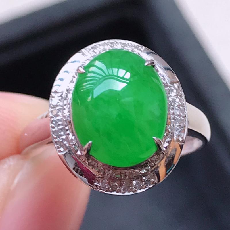 1117,18k精雕完美好种满绿戒指,裸石尺寸 :  10*8*3,镶金尺寸:14.2*12.2*7