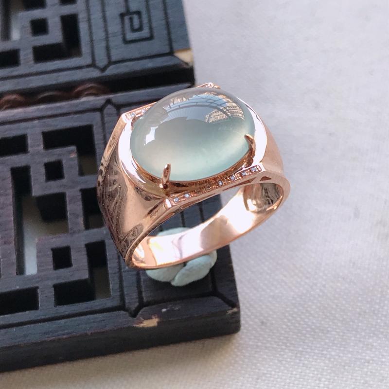 冰种蛋面翡翠戒指,整体尺寸13.2-6.7mm裸石尺寸13.4-11.2-4.3mm圈口18.2mm