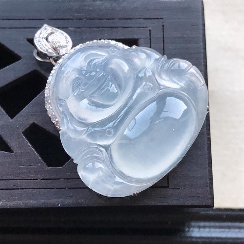 天然翡翠A货18K金镶嵌伴钻冰糯种白冰精美佛公吊坠,含金尺寸30-24-8.
