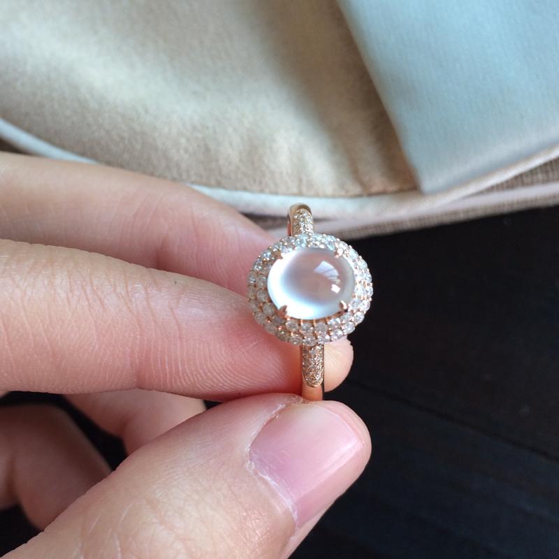 高冰种戒指,18k玫瑰金镶嵌,款式简单大方,裸石品质高,裸7.2-6.1-5,整体:10.8-10-