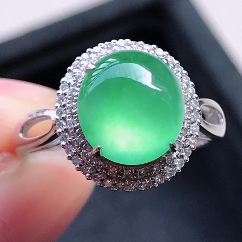 1119,18k精雕完美好种冰阳绿戒指,裸石尺寸