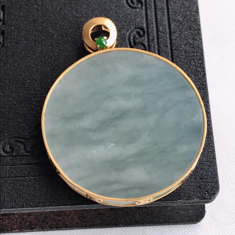 天然翡翠A货18k金镶嵌素面平安扣吊坠,含金尺寸:39.3×31.4×4.1mm,裸石尺寸:31.4