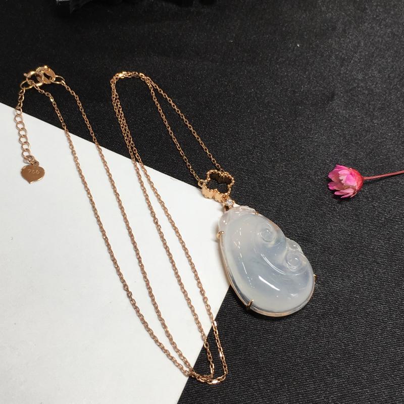 冰种如意项链,如意吉祥,底庄细腻,完美起光,18K玫瑰金镶嵌,性价比高,推荐,尺寸36*16.8*6