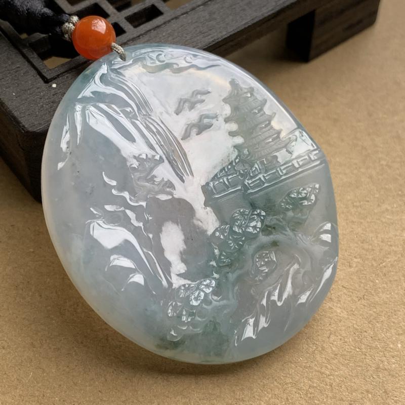 A货翡翠 冰种飘花前程似锦山水牌吊坠 尺寸48.4*41.8*6.2mm 种水好,莹润通透,料子细腻