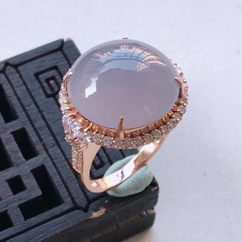 翡翠A货紫罗兰鸽子蛋戒指、玉质细腻,底色漂亮,上身高贵,内径16.8/18.4/11.8mm裸石
