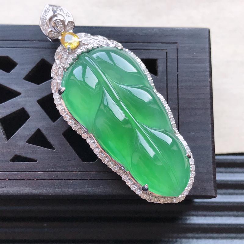 天然翡翠A货18K金镶嵌伴钻糯化种满绿精美金枝玉叶吊坠,含金尺寸43.8