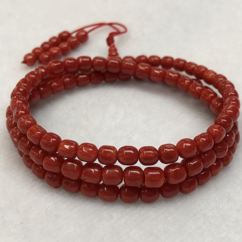 【纯天然红珊瑚桶珠108珠串】可绕手多圈,也可单独做项链,鲜红色,科西卡料,光泽柔润透亮,桶珠直径4