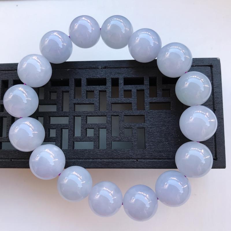 翡翠A货 糯种水润紫罗兰翡翠圆珠手链 尺寸14
