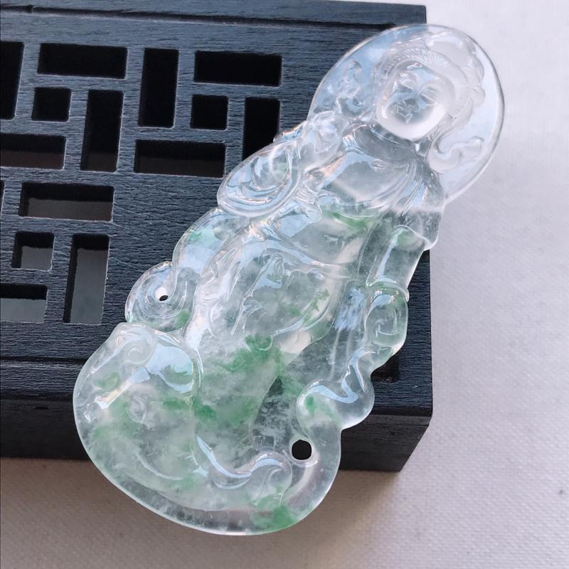 冰种飘花观音吊坠,尺寸60.3/25.5/4.5雕工精细 玉质细腻水润,底色漂亮,种水好