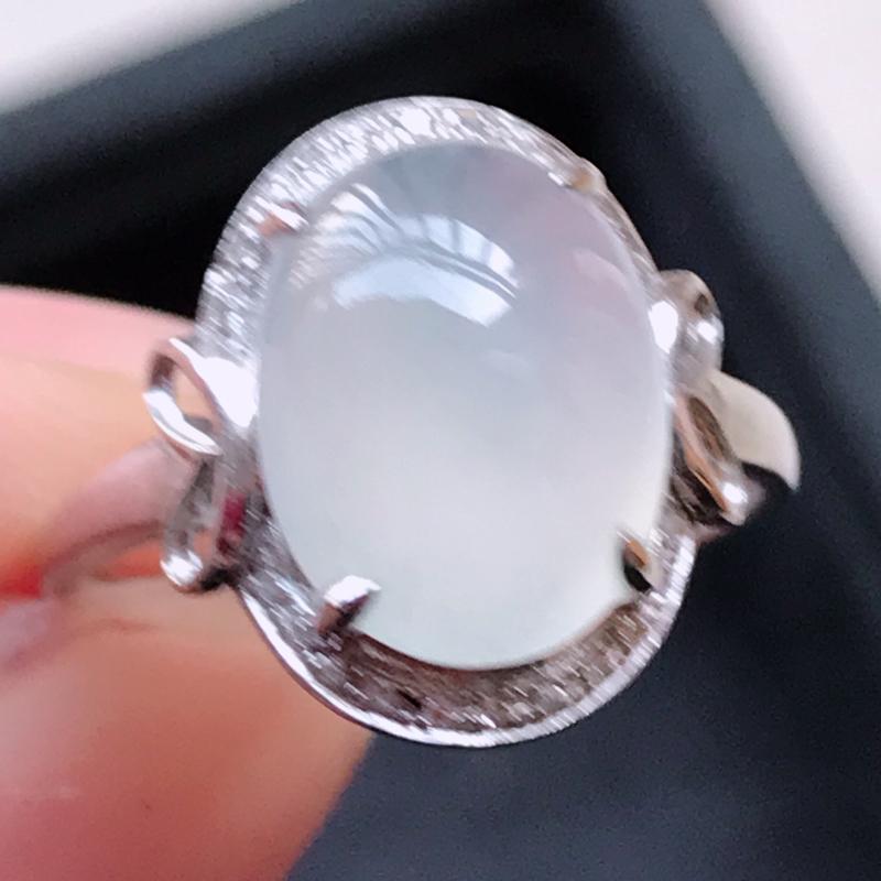 1122,18k精雕完美好种冰透戒指,裸石尺寸