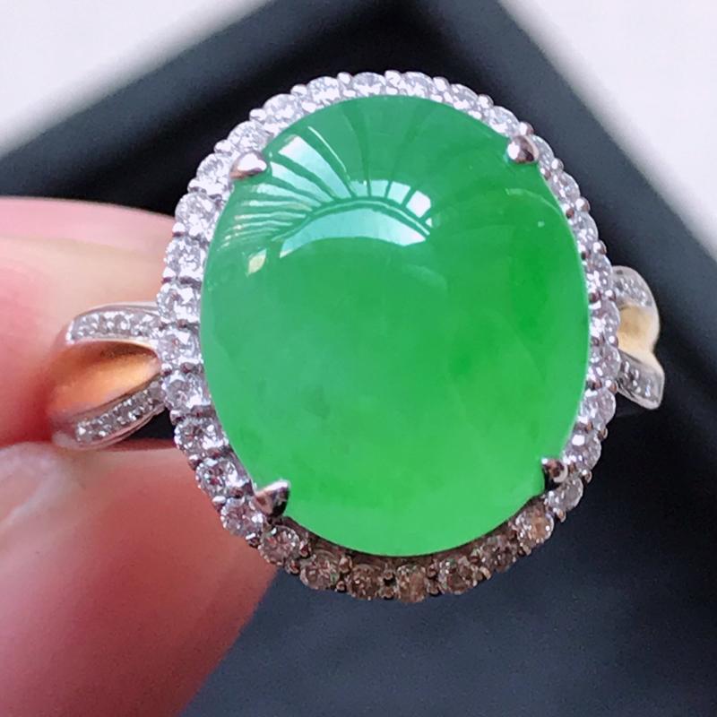 1121,18k精雕完美好种冰阳绿戒指,裸石尺寸