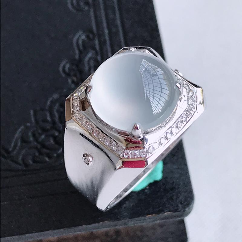 天然翡翠A货18k金伴钻镶嵌冰种蛋面戒指,含金尺寸:15.1×15.9×10.5mm,裸石尺寸:11