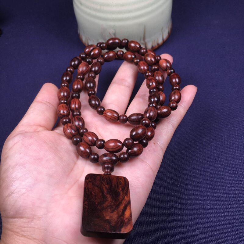 海南黄花梨橄榄珠11mm*8mm念珠 纹理清晰自然 材质细腻 带大黑线顺纹 男女均可佩戴 重24.5