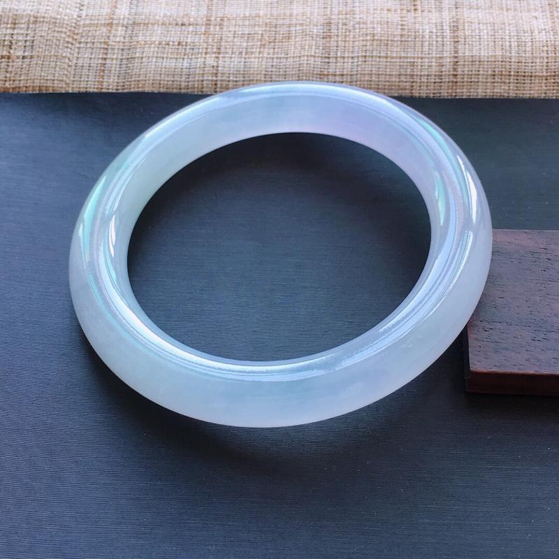 冰糯种紫罗兰圆条手镯,圈口:54.3mm  尺寸:9.3mm,  天然翡翠A货玉质细腻精雕细雕手镯,