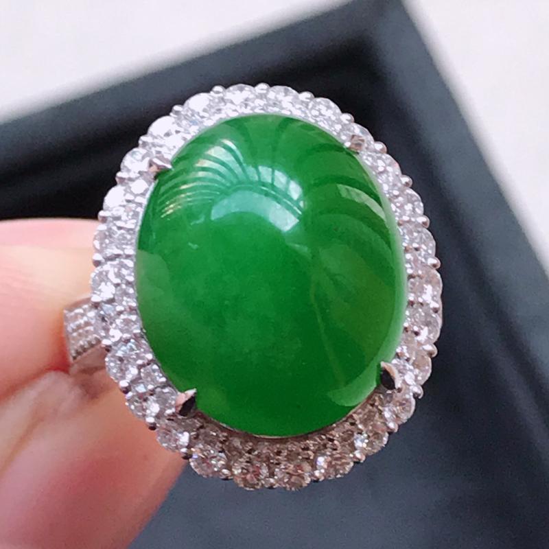 1122,18k精雕完美好种满绿戒指,裸石尺寸