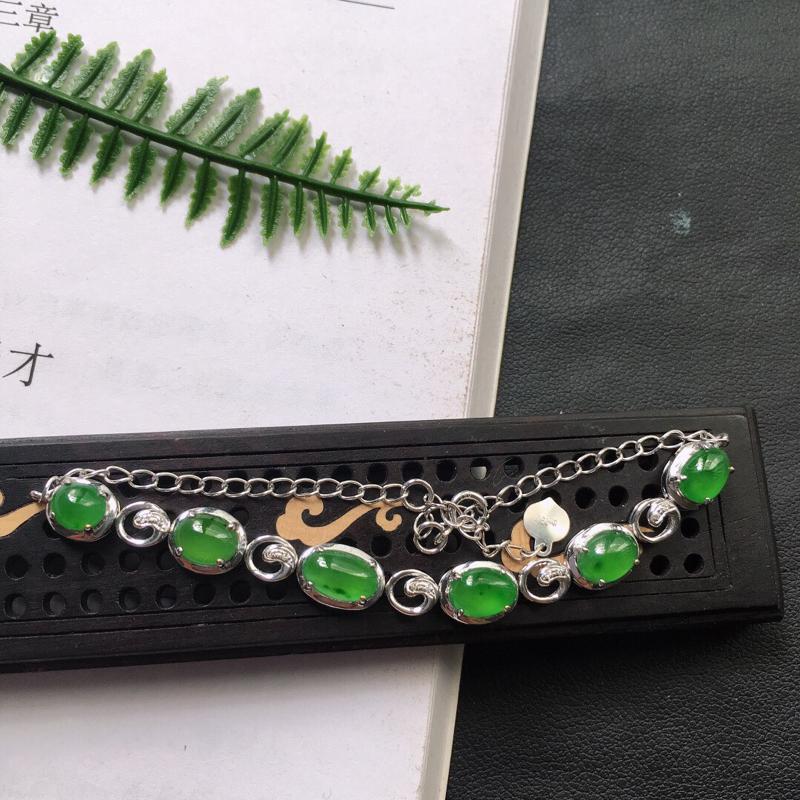 缅甸翡翠18K金伴钻镶满绿嵌蛋面手链,颜色好,玉质细腻,雕工精美,佩戴送礼佳品,包金尺寸:6.1*9